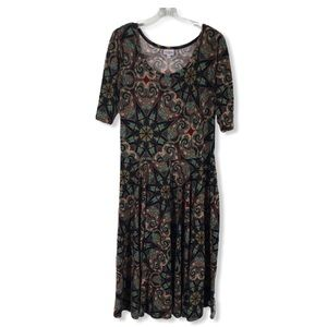 LuLaRoe Nicole Scoop Neck Midi Dress Plus 2X